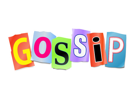 hearsay: Illustration depicting a set of cut out printed letters arranged to form the word gossip.