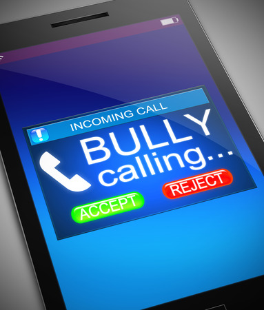 bully: Illustration depicting a phone with a bullying concept.