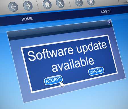 updating: Illustration depicting a computer dialogue box with a software update concept.