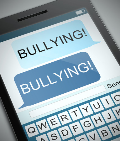 abusing: Illustration depicting a phone with a bullying concept.