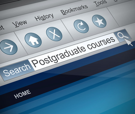 screenshot: Illustration depicting a screenshot of an internet search with a postgraduate course concept.