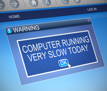 slow: Illustration depicting a computer dialogue box with a slow computer concept. Stock Photo