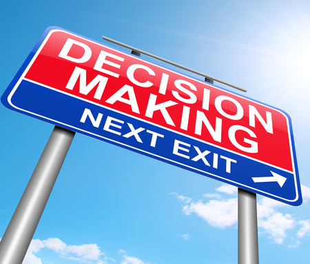 evaluating: Illustration depicting a sign with a decision making concept.