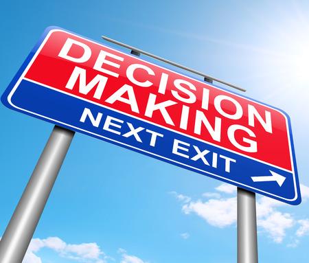 toma de decision: Ilustración que muestra una señal con un concepto de la toma de decisiones.