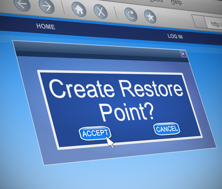 restore: Illustration depicting a computer dialogue box with a Restore Point concept.