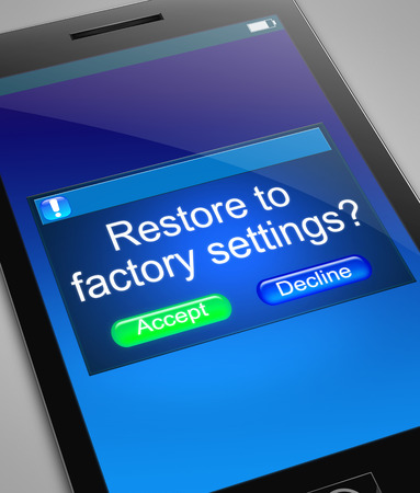 restore: Illustration depicting a phone with a restore to factory settings concept. Stock Photo