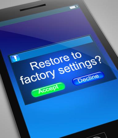 solucion de problemas: Ilustración que muestra un teléfono con una restauración a la configuración de fábrica concepto.