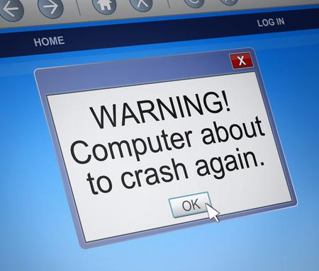 glitch: Illustrazione raffigurante una finestra di dialogo di computer con un concetto di schianto. Archivio Fotografico