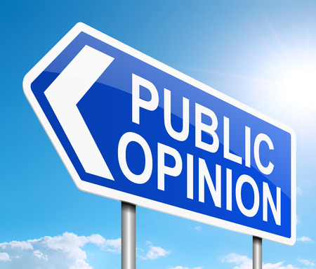 public opinion: Illustration depicting a sign with a public opinion concept.