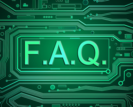 troubleshoot: Abstract style illustration depicting printed circuit board components with an FAQ concept..
