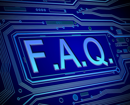 troubleshooting: Abstract style illustration depicting printed circuit board components with an FAQ concept..