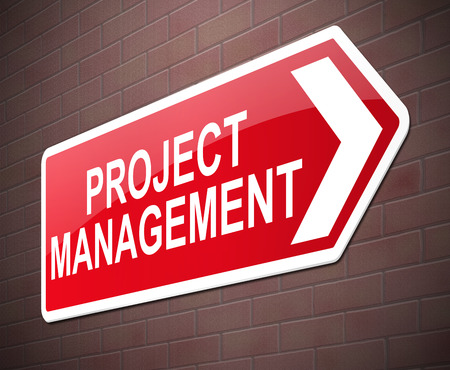 organising: Illustration depicting a sign with a project management concept.