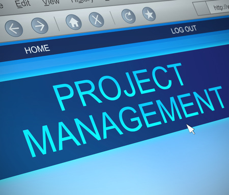 organise: Illustration depicting a computer screen capture with a project management concept.