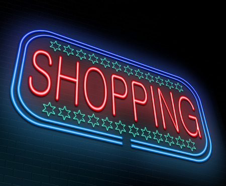 errands: Illustration depicting an illuminated neon sign with a shopping concept.