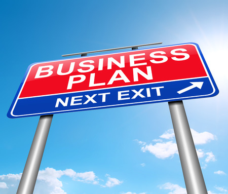 profit and loss: Illustration depicting a sign with a business plan concept. Stock Photo