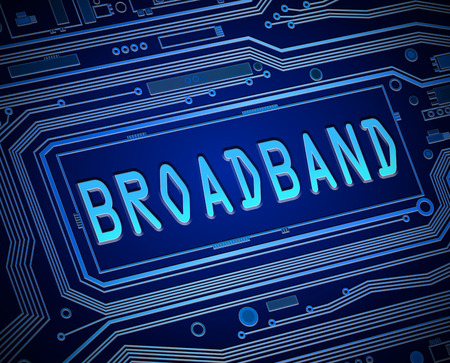 broadband: Abstract style illustration depicting printed circuit board components with a broadband concept.