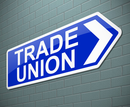 trade union: Illustration depicting a sign with a trade union concept.