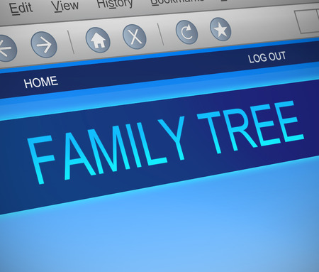 ancestors: Illustration depicting a computer screen capture with a family tree concept. Stock Photo
