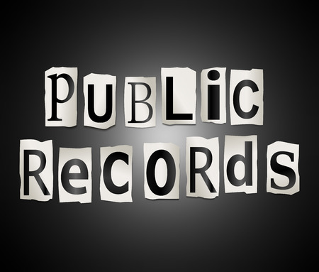 Illustration depicting a set of cut out printed letters arranged to form the words Public records.
