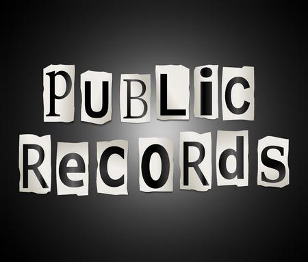 registros contables: Ilustración que muestra un conjunto de recortar letras impresas dispuestas para formar las palabras Registros Públicos.