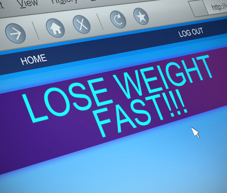 quickly: Illustration depicting a computer screen capture with a losing weight concept.