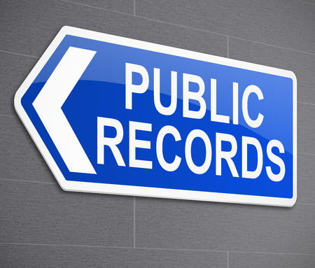 registros contables: Ilustración que muestra una señal con un concepto de los registros públicos. Foto de archivo