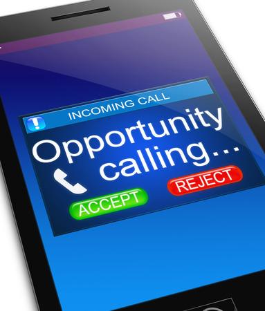 llamando: Ilustración que muestra un teléfono con un concepto de oportunidad.