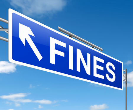 disadvantages: Illustration depicting a sign with a fines concept. Stock Photo