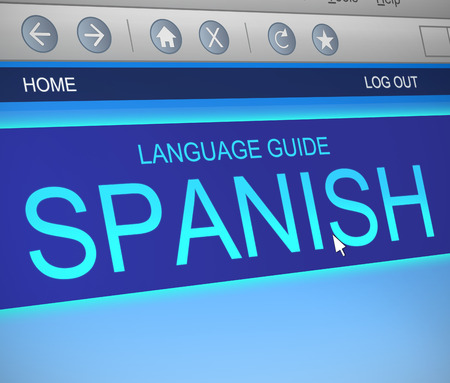 computer language: Illustration depicting a computer screen capture with a Spanish  language concept. Stock Photo