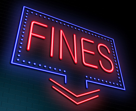disadvantages: Illustration depicting an illuminated neon sign with a fines concept. Stock Photo