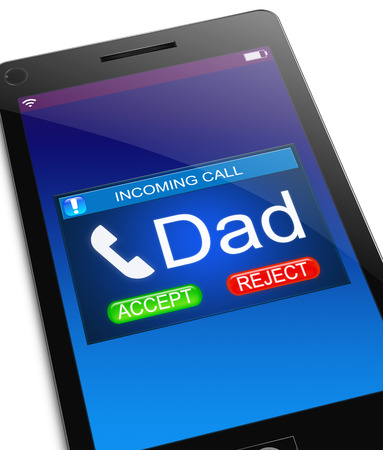 incoming: Illustration depicting a phone with an incoming call from dad.