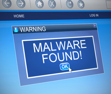 malware: Illustration depicting a computer dialogue box with a malware concept. Stock Photo