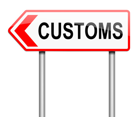 levy: Illustration depicting a road sign with a customs concept. Stock Photo