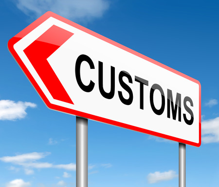 exported: Illustration depicting a road sign with a customs concept. Stock Photo