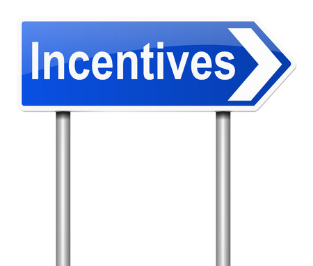 motivations: Illustration depicting a road sign with an incentives concept. Stock Photo