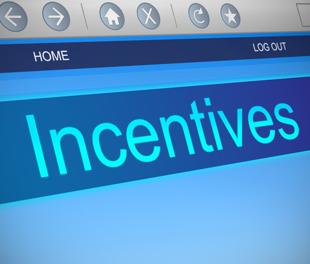 motivations: Illustration depicting a computer screen capture with an incentives concept. Stock Photo