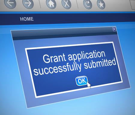 助成金のアプリケーションの概念をコンピューター ダイアログを描いたイラスト。