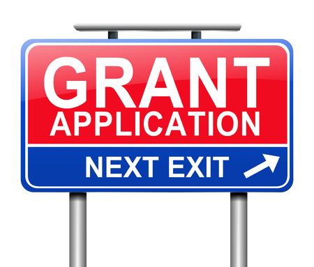 subsidy: Illustration depicting a sign with a grants concept.