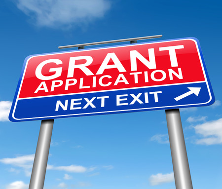 requesting: Illustration depicting a sign with a grants concept.