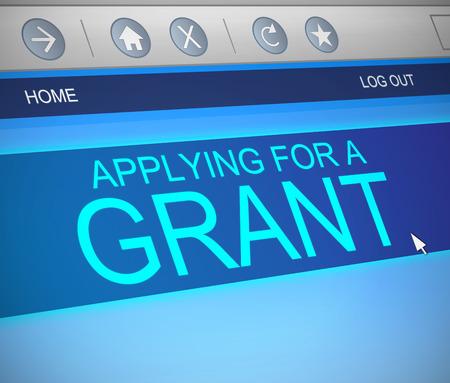 grant: Illustration depicting a computer screen capture with a grants concept.