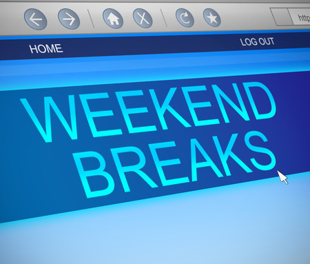 breaks: Illustration depicting a computer screen capture with a weekend breaks concept.