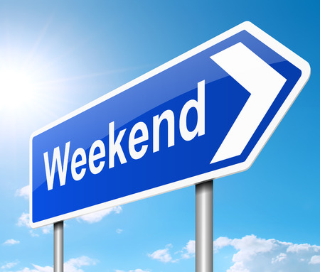 weekend: Illustration depicting a road sign with a weekend concept. Stock Photo