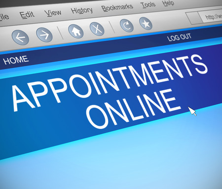appointments: Illustration depicting a computer screen capture with an appointment concept.