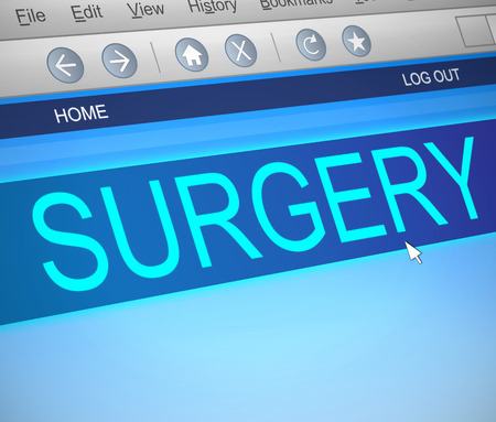 surgery concept: Illustration depicting a computer screen capture with a surgery concept. Stock Photo