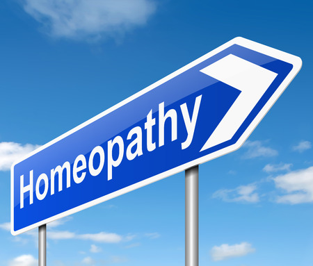 remedy: Illustration depicting a sign with a Homeopathy concept.