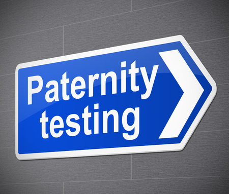 parentage: Illustration depicting a sign with a paternity test concept.