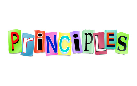 Illustration depicting a set of cut out printed letters arranged to form the word principles. Stock Photo