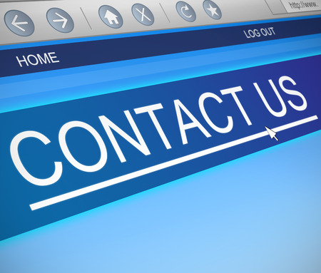 get in touch: Illustration depicting a computer screen capture with a contact us concept. Stock Photo