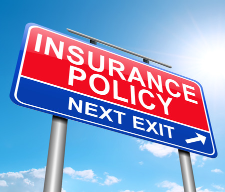 insure: Illustration depicting a sign with an insurance concept. Stock Photo