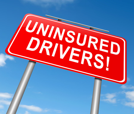 insured: Illustration depicting a sign with an uninsured drivers concept.